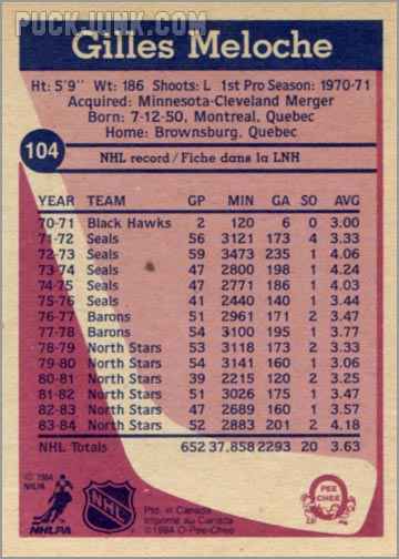 1984-85 OPC #104 - Gilles Meloche (back)