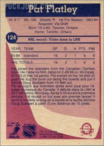 1984-85 OPC #124 - Pat Flatley (back)