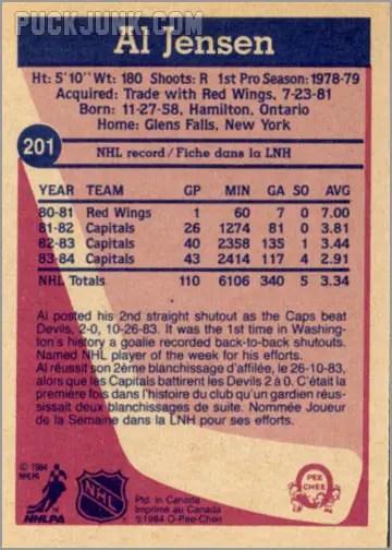1984-85 OPC #201 - Al Jensen (back)