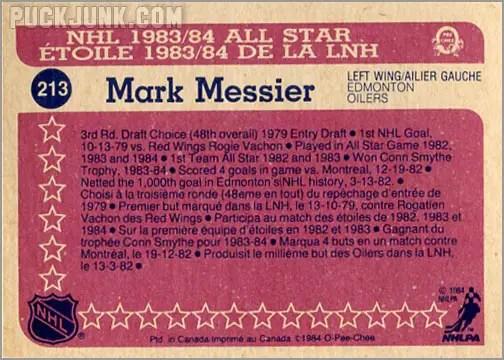 1984-85 OPC #213 - Mark Messier (All-Star - back)
