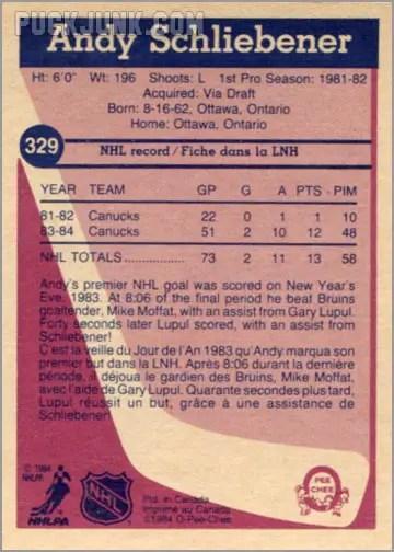 1984-85 OPC #329 - Andy Schliebener (back)
