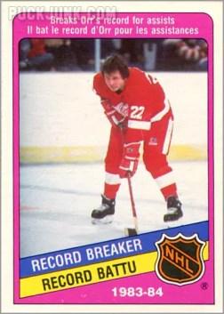 1984-85 OPC #390 - Record Breaker (Brad Park)
