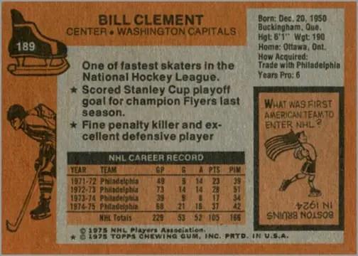 1975-76 Topps card #189 - Bill Clement