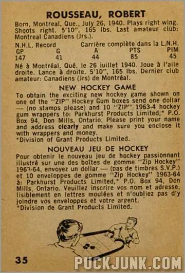 1963-64 Parkhurst #35 - Robert Rousseau (back)