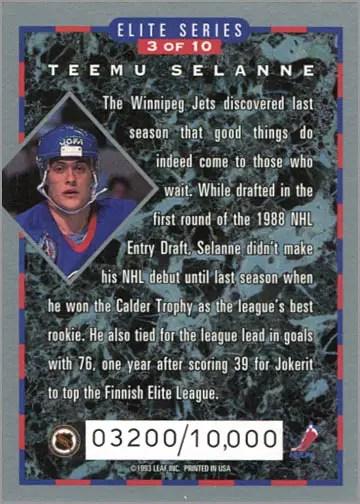 1993-94 Donruss Elite Series Inserts #3 - Teemu Selanne (back)