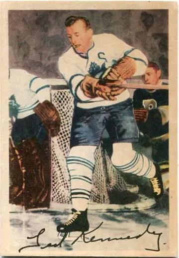 """1953-54 Parkhurst #7 - Theodore """"Teeder"""" Kennedy"""