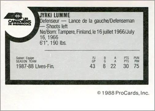 1988-89 ProCards AHL/IHL - Jyrki Lumme (back)