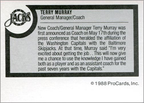 1988-89 ProCards AHL/IHL - Terry Murray (back)