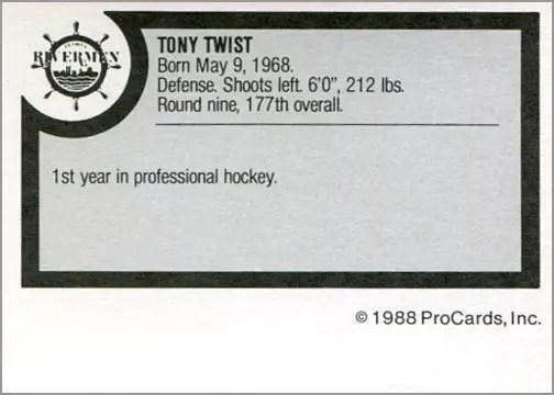 1988-89 ProCards AHL/IHL - Tony Twist (back)