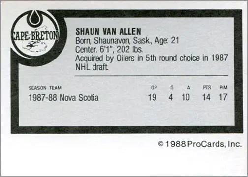 1988-89 ProCards AHL/IHL - Shaun Van Allen (back)