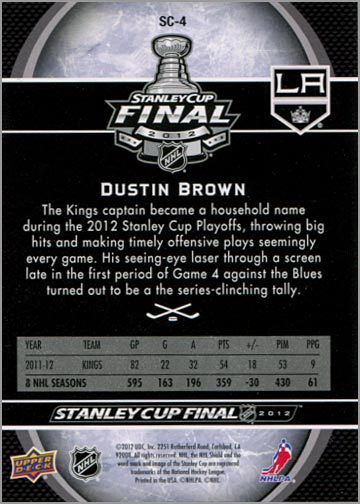 2011-12 L.A. Kings Stanley Cup Finals #4 - Dustin Brown (back)