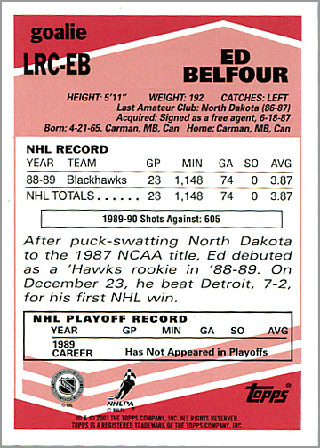 2003-04 Topps Lost Rookies #LRC-EB - Ed Belfour (back)