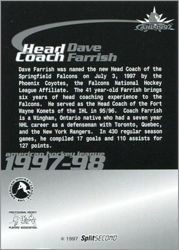 1997-987 Springfield Falcons - Dave Farrish (back)
