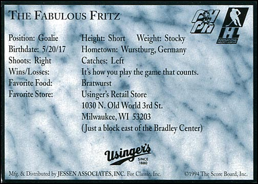 1994-95 Classic Milwaukee Admirals – The Fabulous Fritz (back)