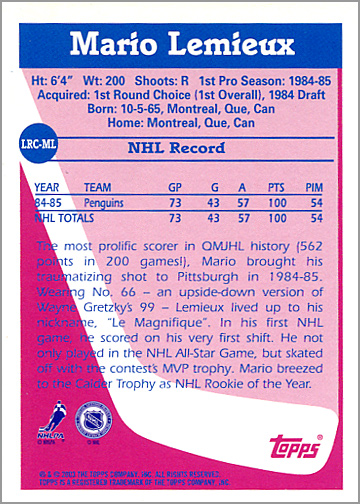 2003-04 Topps Lost Rookies #LRC-ML - Mario Lemieux (back)