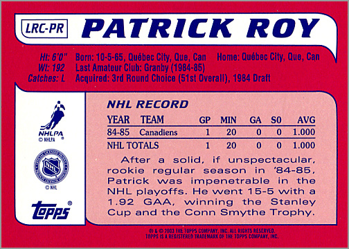 2003-04 Topps Lost Rookies #LRC-PR - Patrick Roy (back)