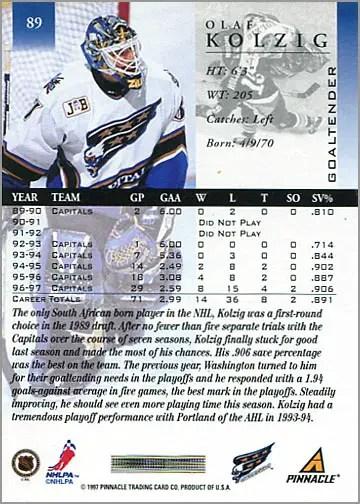 1997-98 Pinnacle #89 - Olaf Kolzig (back)