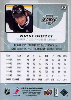 2012-13 SP Game Used #53 - Wayne Gretzky (back)