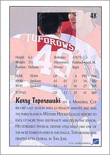 1991-92 Ultimate Draft Picks #48 - Kerry Toporowski (back)