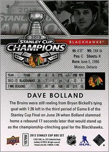 2013 Chicago Blackhawks Commemorative Box Set #2 - Dave Bolland (back)