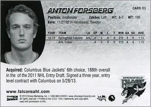 2014-15 Springfield Falcons #1 - Anton Forsberg (back)