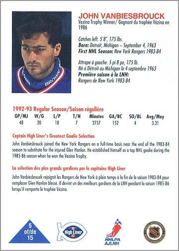 new style 9595b 9c946 Review: 1993-94 High Liner Greatest Goalies Set & Album ...