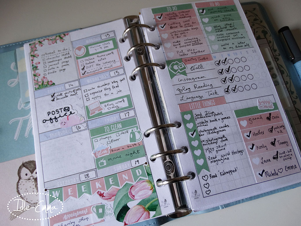 Catch Up of Personal Planner Weekly Spreads