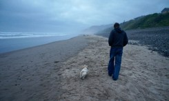 John and Max on the misty evening beach.