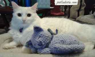 Purple amigurumi kitty, with my cat Panger