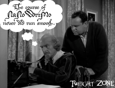 "Shakespeare working at a typewriter, from ""The Bard"" episode of the Twilight Zone. Thought cloud above says, ""The course of NaNoWriMo never did run smooth."""