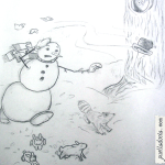 Snowman and his woodland friends chasing his hat