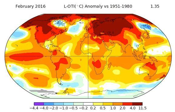 Variación promedio de la temperatura en la Tierra