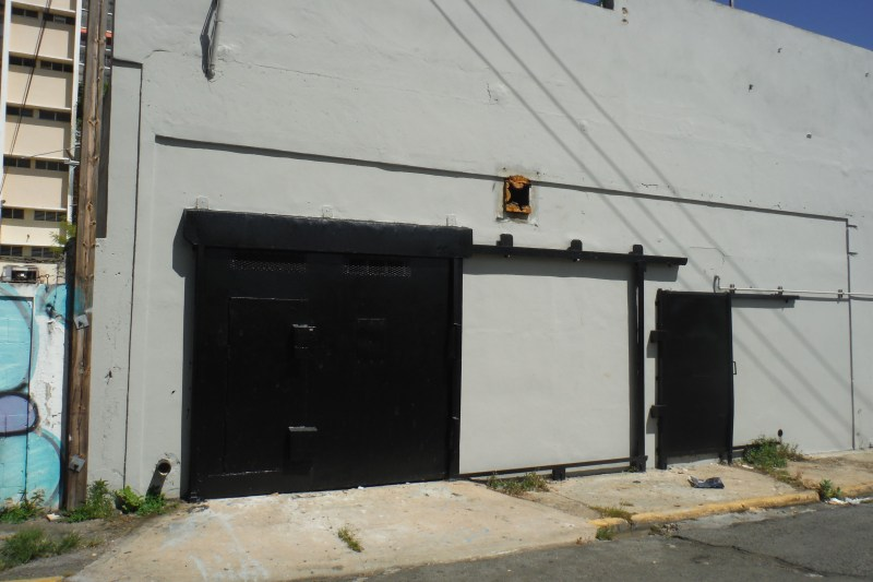 "Garage door on Calle Santa Ana has 7'5"" clearance.  Main door slides with additional door inset."