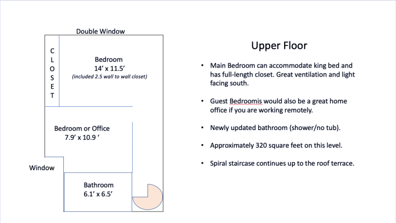 Upper level gives great separation from living and sleeping areas.
