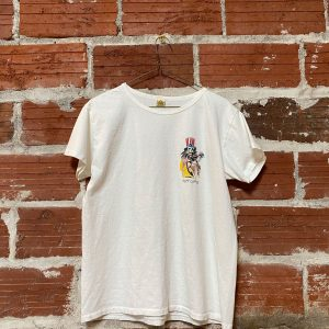 white t-shirt with fiddling skeleton graphic