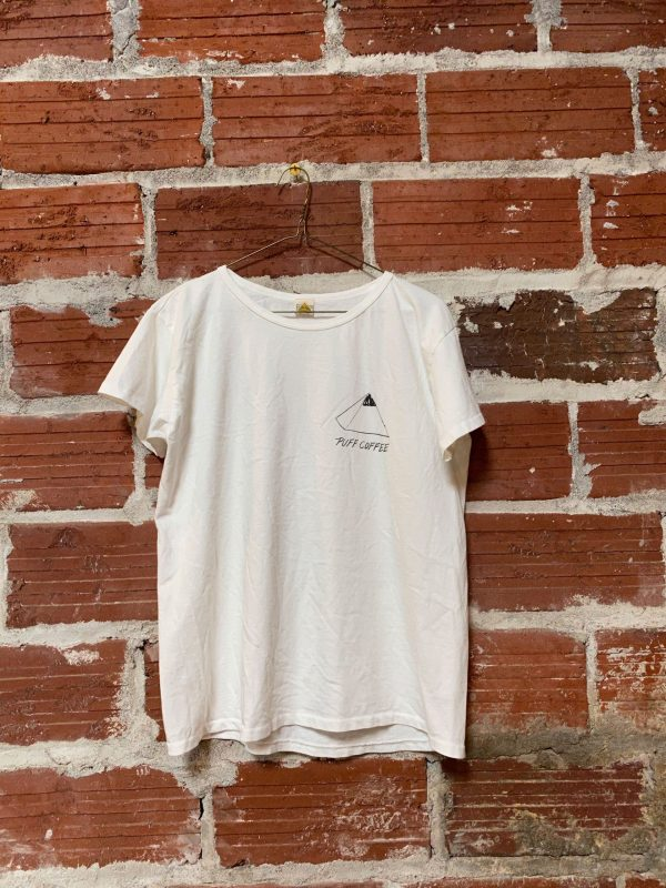 white t-shirt with printed pyramid