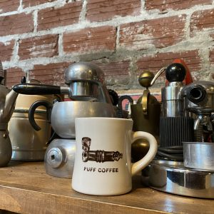 puff coffee diner mug with pipe illustrations