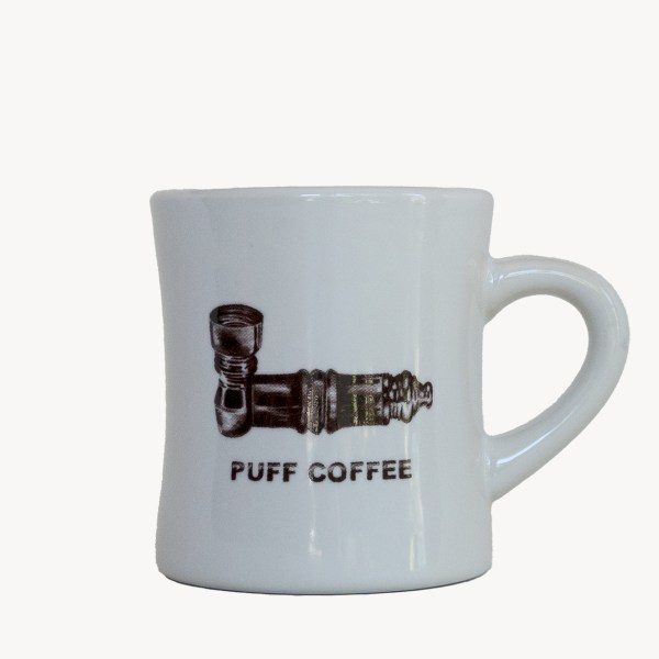 diner mug with puff logo and pipe