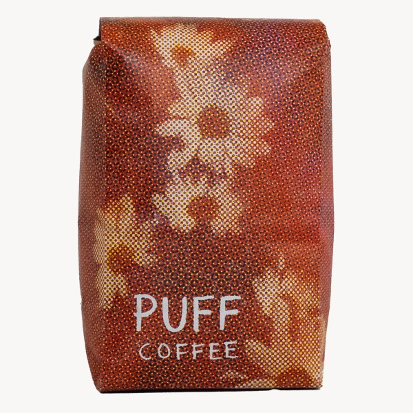 Red coffee bag with sunflowers