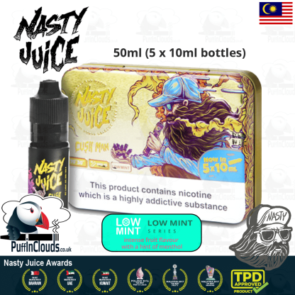Nasty Juice Cush Man E-Liquid (Yummy Fruity Series) - Mango eJuice with just a hint of mint