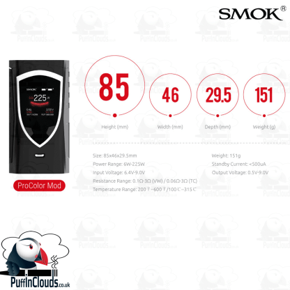 SMOK ProColor Kit (UK / EU Edition) - Specification   Puffin Clouds UK