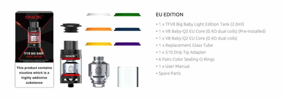 SMOK Big Baby Light Edition Tank - What's Included | Puffin Clouds UK