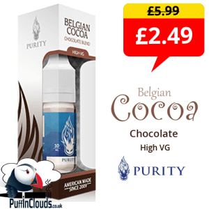 Purity Belgian Cocoa High VG E-Liquid 3mg (10ml Single Bottle)