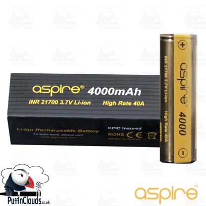 Aspire 21700 4000mAh Vaping Battery | Puffin Clouds UK