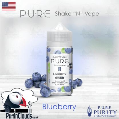 P.U.R.E Blueberry Shake n Vape E-Liquid (50ml 0mg)   Puffin Clouds UK