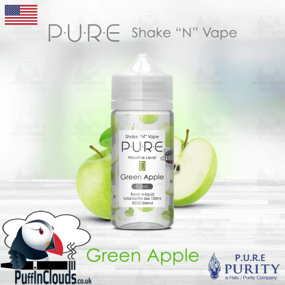 P.U.R.E Green Apple Shake n Vape E-Liquid (50ml 0mg) | Puffin Clouds UK