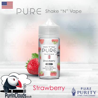 P.U.R.E Strawberry Shake n Vape E-Liquid (50ml 0mg) | Puffin Clouds UK
