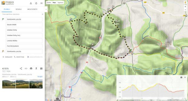 poglądowa mapka trasy. Korzystając z mapy turystycznej możecie wyklikać sobie przebieg szlaku, pokaże Wam sie szacowany czas przejścia a nawet wykres przewyższeń- ja po obejrzeniu tego ostatniego zmeniłam pętelkę z prawoskrętnej na lewoskrętną ;)