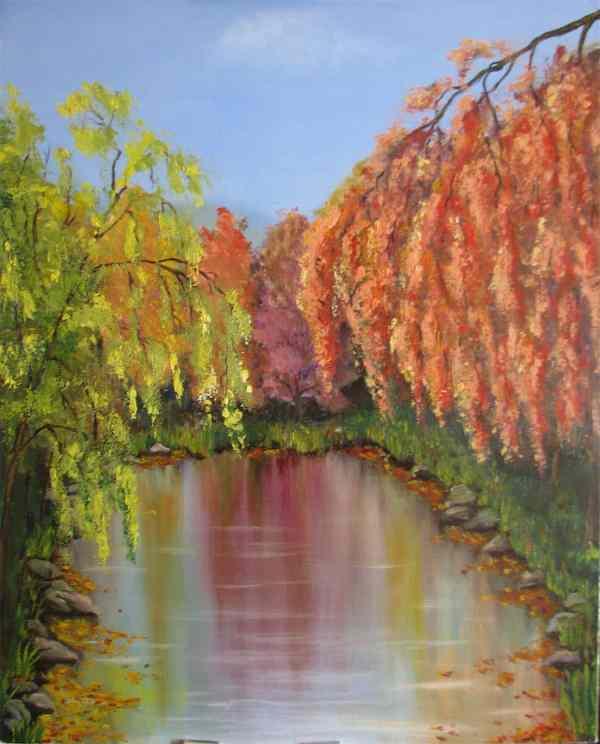 картина осенние деревья у пруда