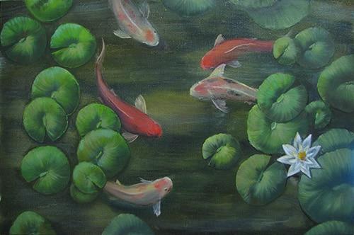 картина маслом рыбки кои с лилией